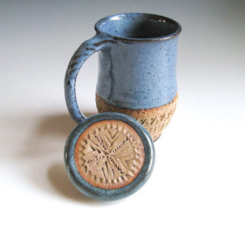 Ceramic Coffee Mug with Lid, Hand-carved, in Denim Blue; Covered Mug