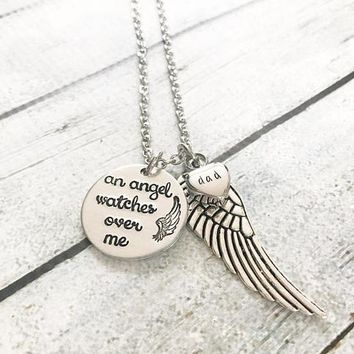 My Guardian Angel Urn necklace - Hand stamped Artisan necklace - Grief and Loss