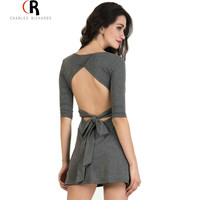 4 Colors Backless Sleeve Bowknot Tied Waist Mini Skater Dress Three Quarter Sleeve Casual A Line Dresses 2016 Women Clothing