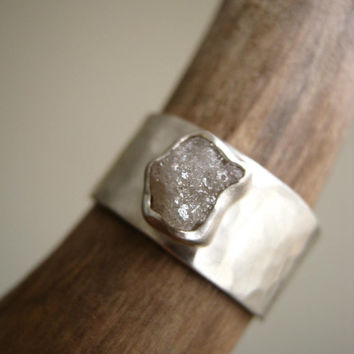 Rough diamond on Wide Hammered band.  0.95 - 1.25 ct weight - Engagement, Wedding, Anniversary Ring in Sterling Silver UPDATED NEW STONES!
