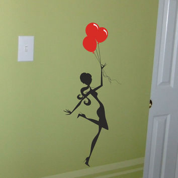 Girl with Balloons wall decal