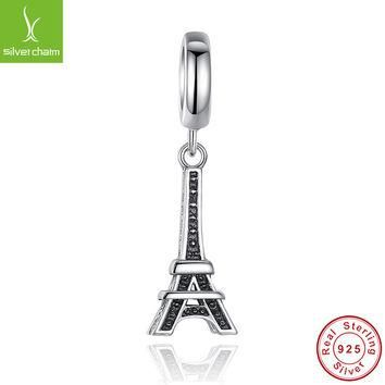 Hot 100% 925 Sterling Silver Eiffel Tower Charm Beads Fit Original Pandora Bracelet Pe