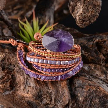 Exquisit Graduated Handmade 2018 - 5X Leather Wrap Beaded Bracelet Boho Chic Jewelry Bracelet Valentine's Gift