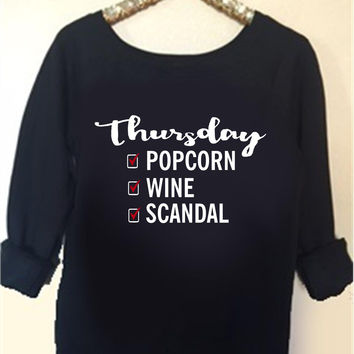 Thursday - Popcorn - Wine - Scandal - Ruffles with Love - Off the Shoulder Sweatshirt - Womens Clothing - RWL