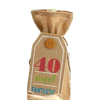 """Age Birthday Wine Bags, """"40 and FANTASTIC"""""""
