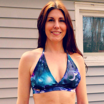 Galaxy Nebula pin up halter Space bikini top geek swim bra your color choice