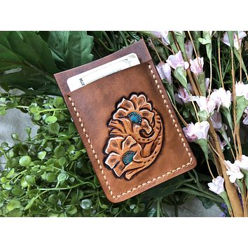 Hand Tooled Leather Wallet - Business Card Holder