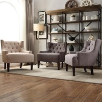 Tess Wingback Tufted Linen Upholstered Club Chair