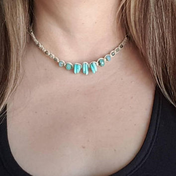 Hemp Choker Necklace, Amazonite, Czech Glass Beads, Hemp Necklace, Handmade, Choker, Gift for Her, Hemp Jewelry, Beach Jewelry, Hemp Choker