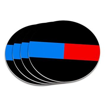 Thin Blue Red Line Firefighter Police Coaster Set