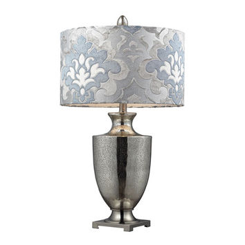 Dimond D2248P Langham Mercury Glass & Polished Chrome Eleven-Light Table Lamp w/Blue Gray Damask Shade