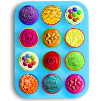 Silicone Muffin & Cupcake Pan With 12 Silicone Muffin Tin Liners