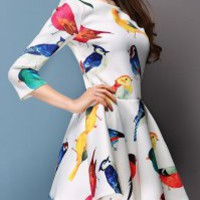 Ruffled Scoop Neck Colorful Birds Print Color Block 3/4 Sleeve Casual Dress For Women (WHITE,L) | Sammydress.com