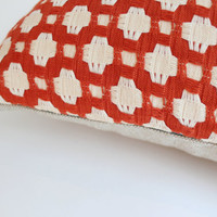Designer Pillow Covers, Woven Red and Ivory Geometric Design, 20x20