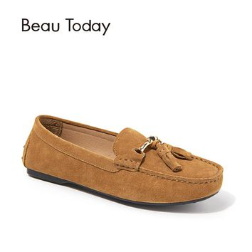 BeauToday Moccasin Loafers Women Chain Fringe Genuine Leather Flat Heel Cow Suede Casual Flats Ladies Shoes with Box 27056