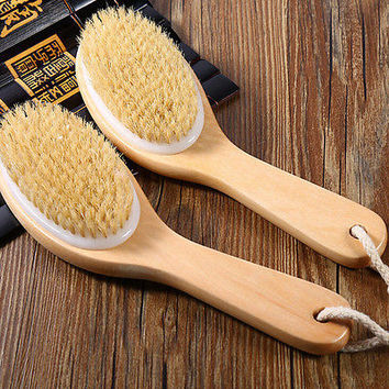 Body Natural Bristle Dry Skin Exfoliation Brush Massager Bath Shower Scrubber HU