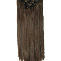 """22"""" Full Head Clip in Hair Extensions 8 pcs with 18 clips Dark brown Straight shade #6"""