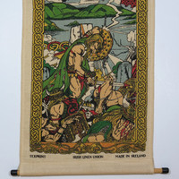 Viking Celtic Battle Scene Irish Linen Wall Hanging . Ireland History . Irish Linen Union . Vintage