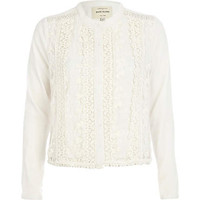 Cream collarless lace jacket - jackets - coats / jackets - women