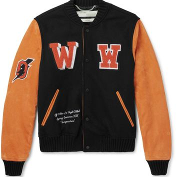 Orange Suede Varsity Jacket by OFF-White