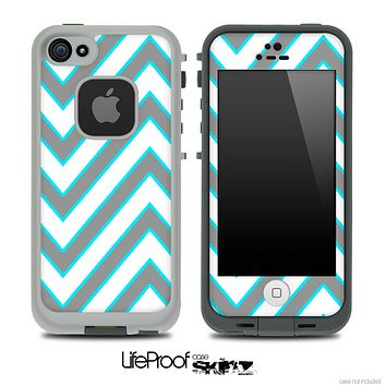 Large Chevron and Solid Gray V1 Skin for the iPhone 5 or 4/4s LifeProof Case