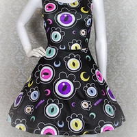 The Eyes Have It Creepy Cute Eyeballs Skater Dress Fairy Kei Pastel Goth Kawaii