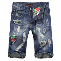 Summer Ripped Holes Men Slim Pants Jeans [6528425027]