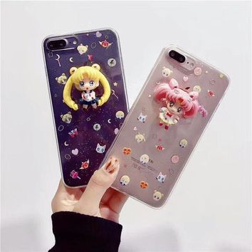 For iPhone X 8 8 Plus 7 Clear Glitter Cute Sailor Moon Doll Pendent 3D Soft Case