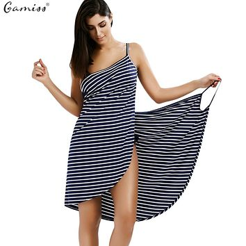 Gamiss  Backless Women Summer Striped Dress V-neck Spaghetti Strap Women Knee-length Cover ups Beach Dresses vestidos