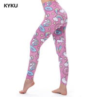 Pink Leggings Push Up Unicorn Leggings Women High Waist Cake Legins Donuts Leggins Cat Legging Slim Sexy Pencil Fashion Summer
