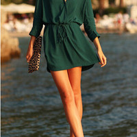 Stylish Deep V Casual Long Sleeve One Piece Dress [6338989633]