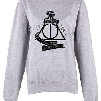 Harry Potter Hogwarts Logo master of death triangle shirt unisex womens mens ladies  print  sweatshirt