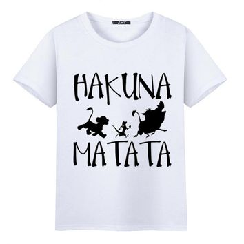 Plus size,M~5XL,Anime HAKUNA MATATA Printing Tee Shirt Mens 2017 Summer Custom Funny T-shirts Male Top Tee,Hakuna for Men,LWT028
