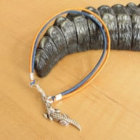 Florida Gators Orange and Blue Cotton Bracelet - Aliigator charm