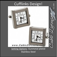 Men's Cufflinks- Black Stainless Steel and Gunmetal Square Watches (Functional)