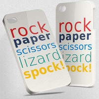 Rock Paper Scissors Lizard Spock - Hard Cover Case iPhone 5 4 4S 3 3GS HTC Samsung Galaxy Motorola Droid Blackberry LG Sony Xperia & more