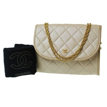 CHANEL Matelasse Quilted Chain Hand Bag Beige Leather Vintage Authentic #9547 W