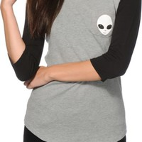 A-Lab Glow In The Dark Alien Pocket Baseball Tee