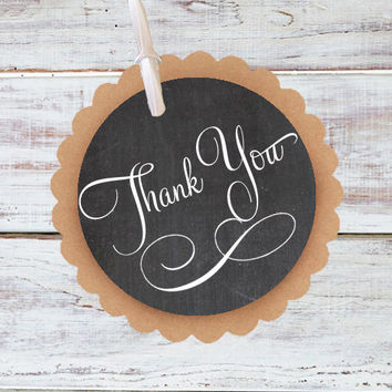 Thank you tag - Set of 10 - Kraft Paper Chalkboard thank you gift tag / Wedding Favor thank you Tag / Party Favor rustic vintage chalk board