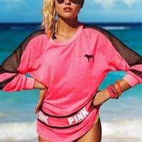 "Victoria's secret ""Pink"" Fashion Letter Print Round neck Long-sleeves Pullover Tops T-shirt"