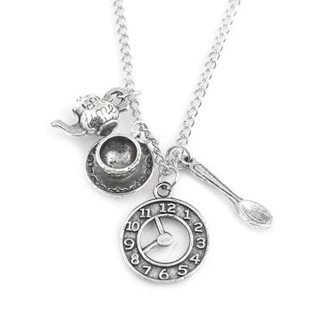 Alice in Wonderland Necklace Ancient Silver Coffee Cup Watch Teapot Spoon Accessories Pendant Necklaces Women Men Jewelry Gift