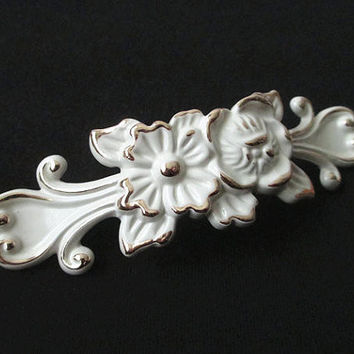 "3 3/4"" French Country Cream White Dresser Drawer Pulls Handles Knobs Gold Silver Rose Flower / Victorian Furniture Decorative Knob"