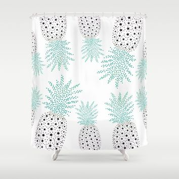 Pineapple Pattern Shower Curtain by ES Creative Designs