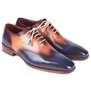 Paul Parkman Blue & Camel Wingtip Oxfords Shoes (ID#097BX11)