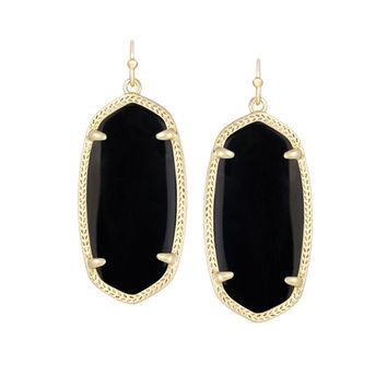 Kendra Scott Elle Black Opaque Glass Earrings 14K Gold Plated