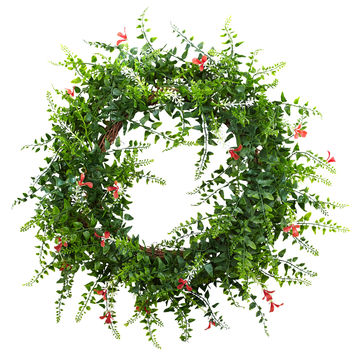 18in Floral & Fern Double Ring Wreath w/Twig Base