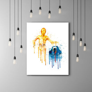 R2D2 And C3PO Star Wars Kids Room Poster, Star Wars C3PO R2D2 Art Kids, Star Wars Nursery Watercolor, C3P0 R2D2 Baby Room Decor Teen