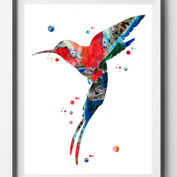 Hummingbird Watercolor Print Hummingbird poster birds art Hummingbird illustration wall art gift Hummingbird painting giclee print  [N156]
