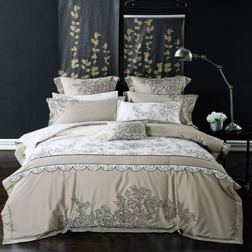 luxury wedding embroidered slippery 4/6pcs bedding set bed flowers bedspread Egyptian cotton linens King Size duvet cover set