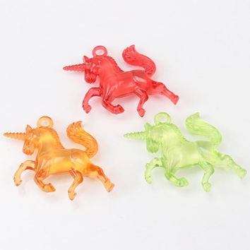Mixed Colorful Unicorn Transparent Crystal Shape Charm Acrylic Spacer Pendant Fit Handmade Jewelry Accessory DIY 34x33mm 20pcs